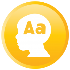 A child's head with an uppercase and lowercase letter a in it