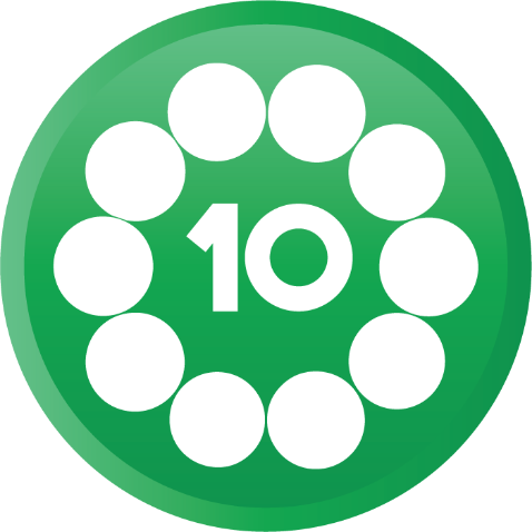 The number ten with 10 circles around it